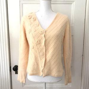 Garnet Hill Embellished Angora Cardigan Sweater